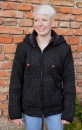 Ribbed dark grey jacket with removable hood and fleece lining