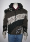 Preview: Brown stripy patchwork jacket with stitched tribal pattern, removable hood and fleece lining