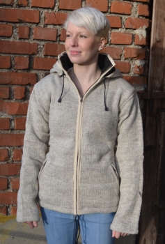 Uni Color light grey Jacket with removeable Hood and Fleece Lining