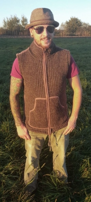 Vest with removeable Hood, dark brown, with Fleece Lining