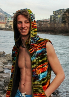 Green Tiedye Vest with Round removeable Hood