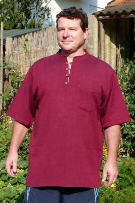 Banded Collar shirt with 4 buttons 1/2 Sleeve dark red 100% cotton