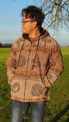 heavy cotton Goa Jacket with Hood Block Print Fleece lined in brown