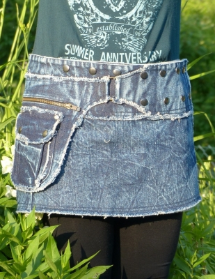 Stone-Washed Denim Skirt with Snap-Fasteners and Pockets