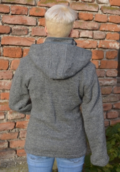 Uni Color middle grey Jacket with removeable Hood and Fleece Lining