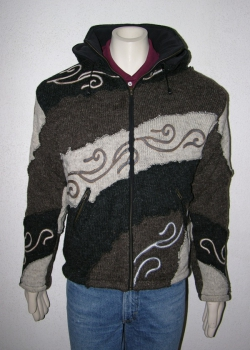 Brown stripy patchwork jacket with stitched tribal pattern, removable hood and fleece lining
