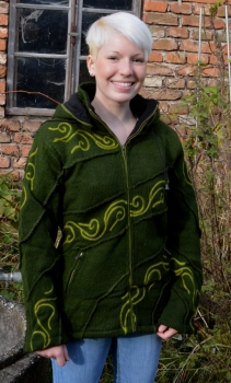 Green patchwork jacket with stitched tribal pattern, removable hood and fleece lining