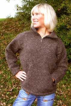 Brown Half-Zip Wool Pullover