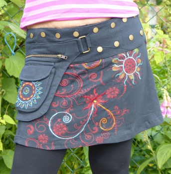 Embroidered Cotton Skirt with Snap Fasteners