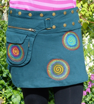 "Embroidered Cotton Skirt with Snap Fasteners and ""Rainbow Spirals"""
