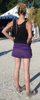 Corduroy Skirt with Large Side Pockets and Snap-Fasteners-Purple