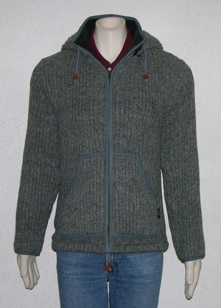 Ribbed middle grey jacket with removable hood and fleece lining