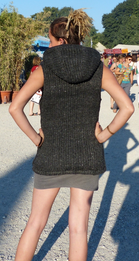 Vest with removeable Hood, dark grey, with Fleece Lining