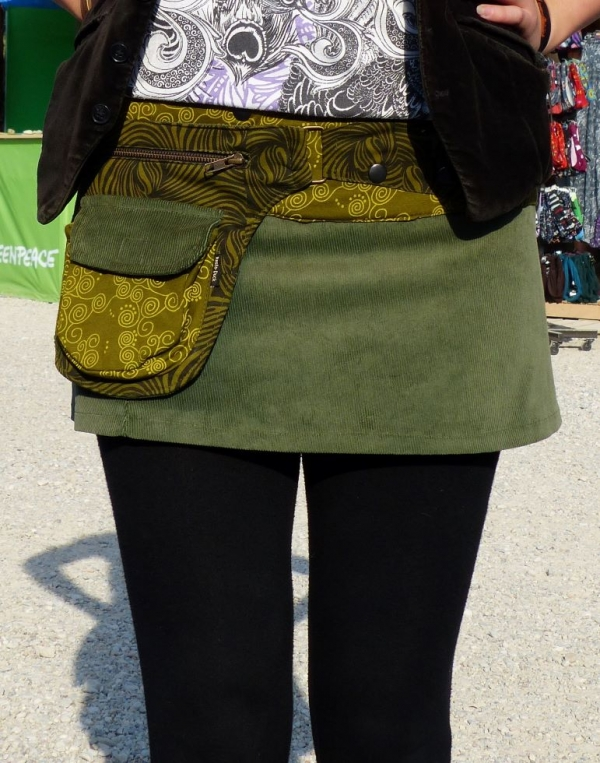corduroy-skirt-with-large-side-pocket-and-snap-fasteners in green