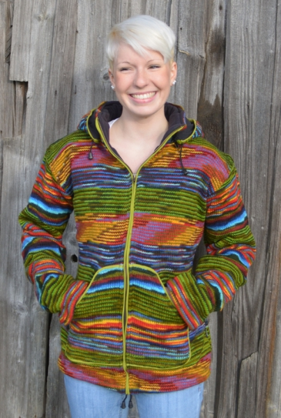 Green multicolored woolen jacket with long removable bobble-hood and fleece lining