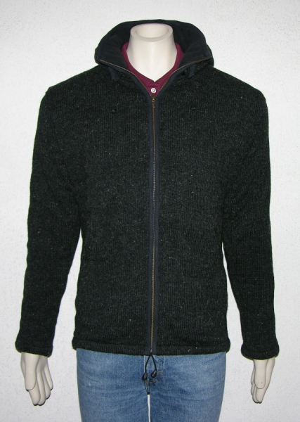 Uni Color dark grey Jacket with removeable Hood and Fleece Lining