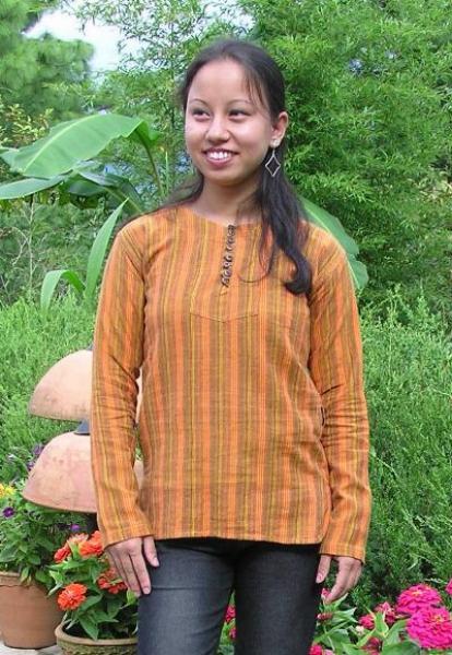hemd ohne kragen mit 8 kn pfen gelb orange luckys pullover. Black Bedroom Furniture Sets. Home Design Ideas