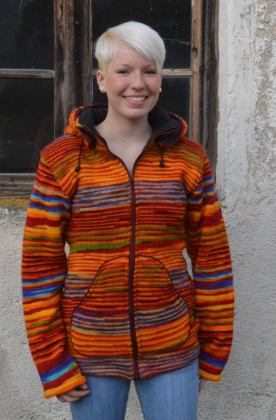 Rainbow jacket with long removable bobble-hood and fleece lining